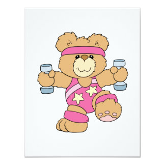 Cute Exercise Fitness bear Invitation