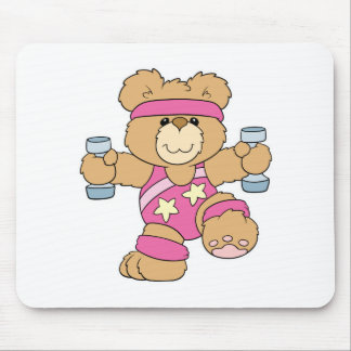 Cute Exercise Fitness bear Mouse Pad
