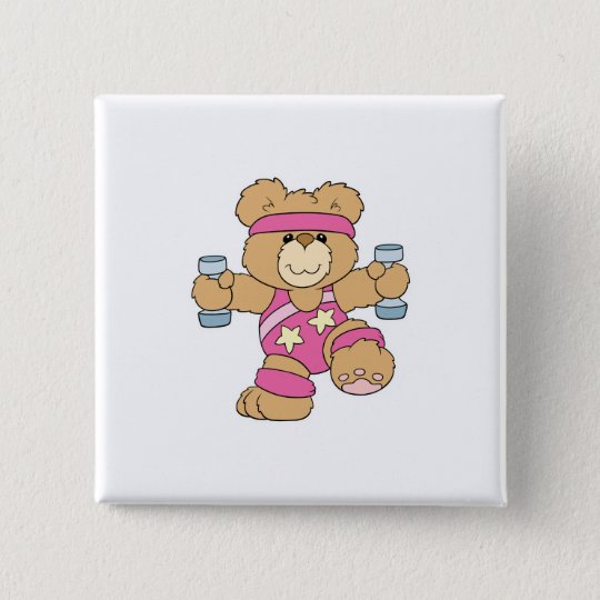 Cute Exercise Fitness bear Pinback Button