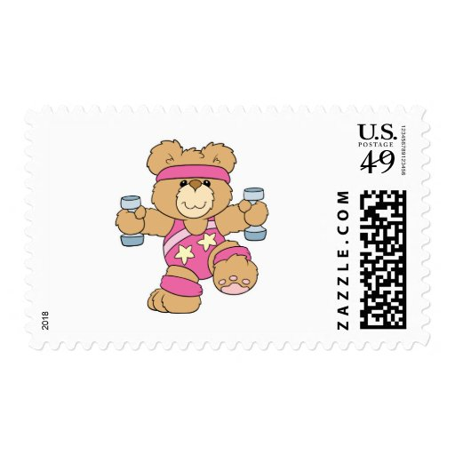 Cute Exercise Fitness bear Postage Stamps