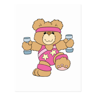 Cute Exercise Fitness bear Post Card