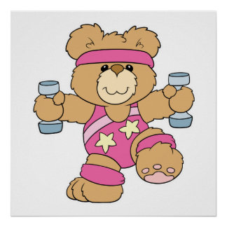 Cute Exercise Fitness bear Poster
