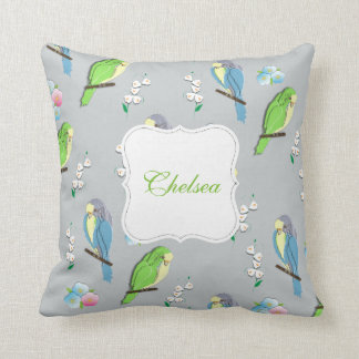Cute Exotic Birds and Ditsy Floral Pattern Throw Pillow