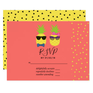 Cute exotic tropical summer Beach Wedding RSVP Card