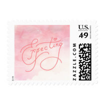 Cute Expecting Baby Girl Birth Announcement Postage