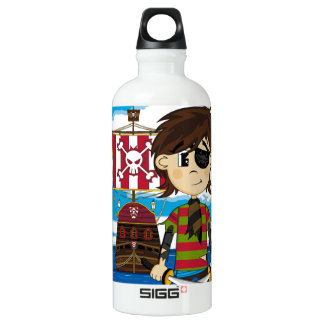 Cute Eyepatch Pirate and Ship Aluminum Water Bottle