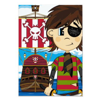 Cute Eyepatch Pirate and Ship Invitation