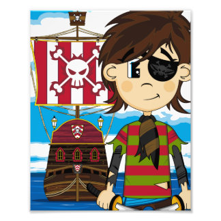 Cute Eyepatch Pirate and Ship Photo Print