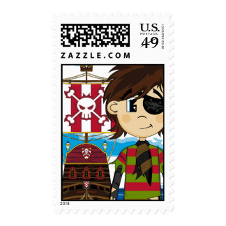 Cute Eyepatch Pirate and Ship Postage Stamp