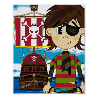 Cute Eyepatch Pirate and Ship Poster Print