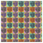 cute fabric with colorful owls pattern