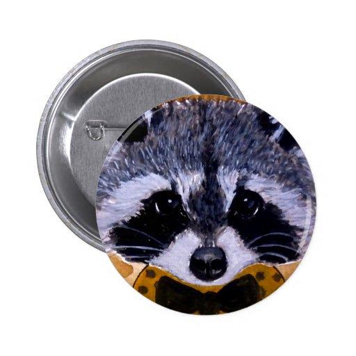 Cute face raccoon art buttons