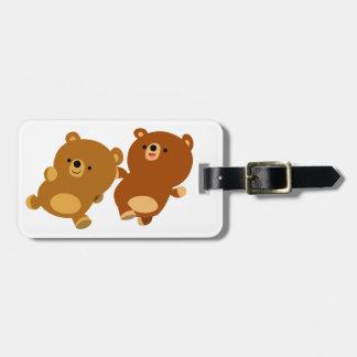 Cute Facetious Cartoon Bears Bag Tag