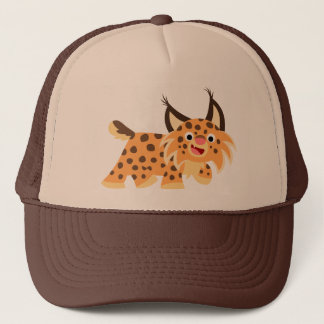 Cute Facetious Cartoon Bobcat Hat
