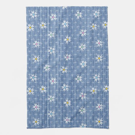 Cute faded blue denim floral kitchen towel