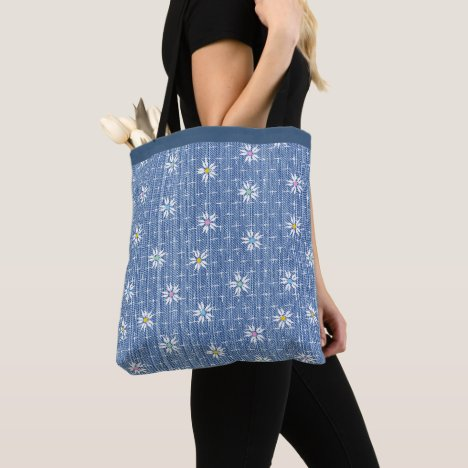 Cute faded denim look covered with flowers tote bag