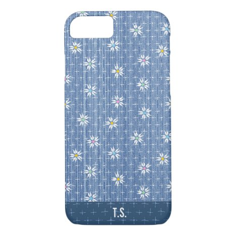 Cute faded grainy denim with simple flowers iPhone 8/7 case