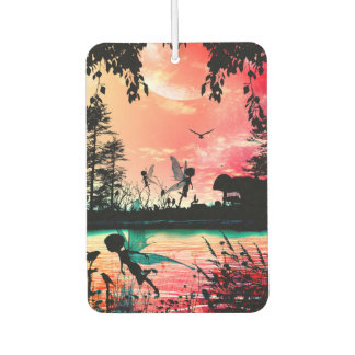 Cute fairies and birds flying in the sunset car air freshener