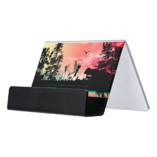 Cute business card holders zazzle cute fairies and birds flying in the sunset desk business card holder colourmoves