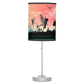 Cute fairies and birds flying in the sunset desk lamp