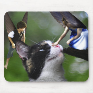 Cute Fairies and Cat Mousepad