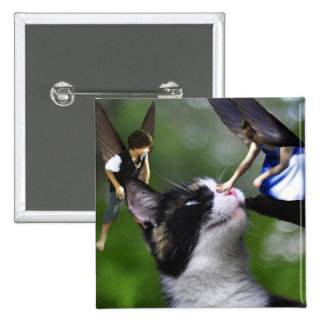 Cute Fairies and Cat Square Button