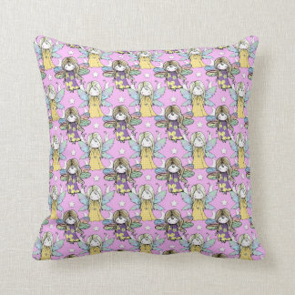 Cute Fairies and Stars and Moons Pattern Throw Pillow