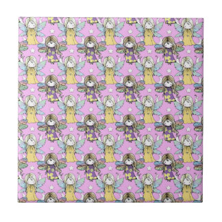 Cute Fairies and Stars and Moons Pattern Tile