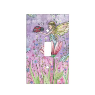 Cute Fairy and Ladybug Fantasy Illustration Light Switch Cover