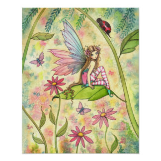 Cute Fairy and Ladybug Fantasy Watercolor Art Poster