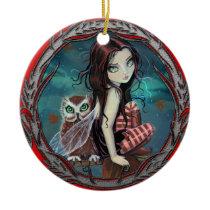 Cute Fairy and Owl Fantasy Art Ceramic Ornament