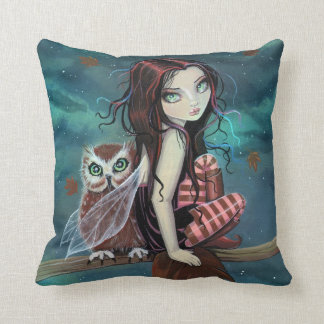 Cute Fairy and Owl Fantasy Art Pillow
