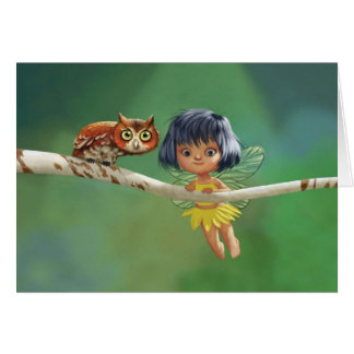 Cute Fairy And Owl Greeting Card
