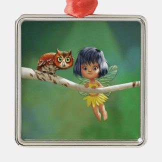 Cute Fairy And Owl Metal Ornament