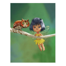 Cute Fairy And Owl Post Cards