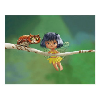 Cute Fairy And Owl Postcard