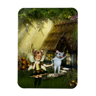 Cute Fairy And White Mouse Magnet