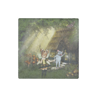 Cute Fairy And White Mouse Stone Magnet