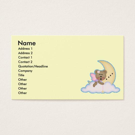 cute fairy bear napping on the moon business card