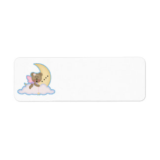 cute fairy bear napping on the moon label