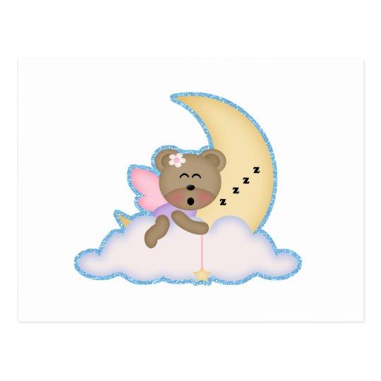 cute fairy bear napping on the moon postcard