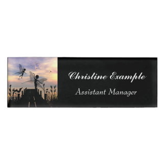 Cute fairy dancing on a jetty name tag