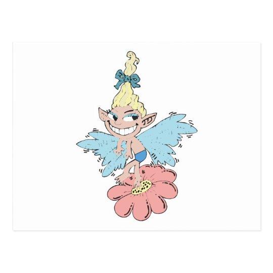 cute fairy dancing on flower postcard