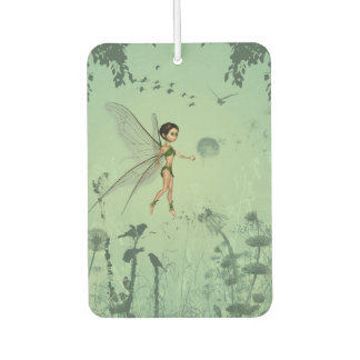 Cute fairy flaying  and playing with a dandelion air freshener