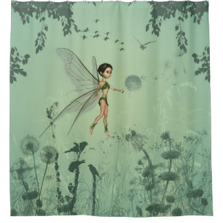 cute fairy flaying and playing with a dandelion shower curtain