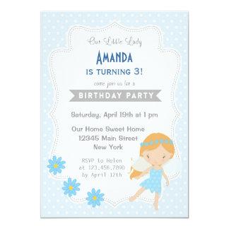 Cute Fairy Girl Birthday Invitation Blue Spring