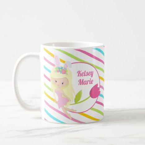 Cute Fairy Girl Easter Striped Pink Monogram Kids Coffee Mug