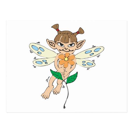 cute fairy girl holding flower postcard