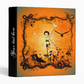 Cute fairy in a frame of flowers with birds 3 ring binder