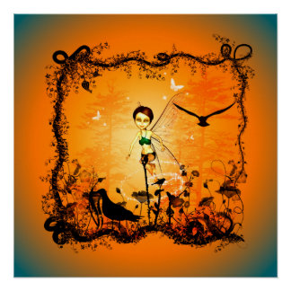 Cute fairy in a frame poster